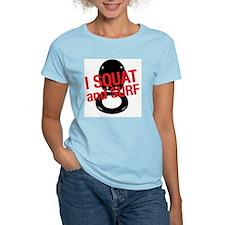 squatnsurfwhite copy Women's Light T-Shirt