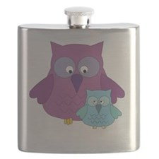 Mother Owl and Baby Boy Flask