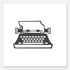 """2000x2000oldtypewriter3c Square Car Magnet 3"""" x 3"""""""