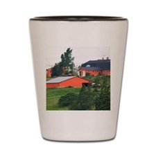 Farm and red barn on a hill at New Glas Shot Glass