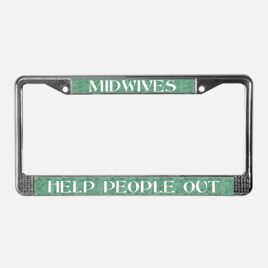 Midwives Help (green) License Plate Frame