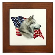 Malamute Flag Framed Tile