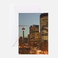 Evening City and Centre Street Bridg Greeting Card