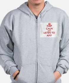 Keep Calm and listen to Amy Zip Hoodie
