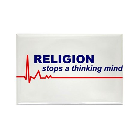 100 Religion Stops a Thinking Mind Rect. Magnets