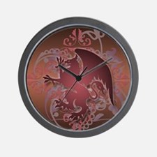 urban griffin grunge red Wall Clock