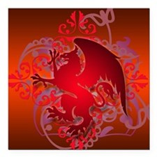 "urban griffin bright red Square Car Magnet 3"" x 3"""