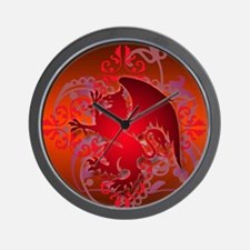urban griffin bright red Wall Clock