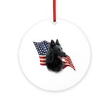 Belgian Sheepdog Flag Ornament (Round)