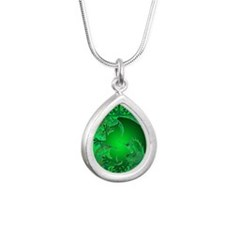 urban griffin green Silver Teardrop Necklace