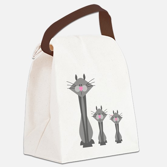 three gray cats Canvas Lunch Bag