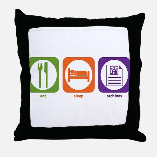 Eat Sleep Archives Throw Pillow