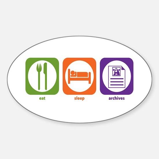 Eat Sleep Archives Oval Decal