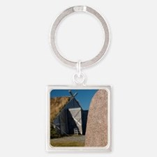 Authentic Viking stone rune in fro Square Keychain