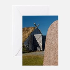 Authentic Viking stone rune in front Greeting Card