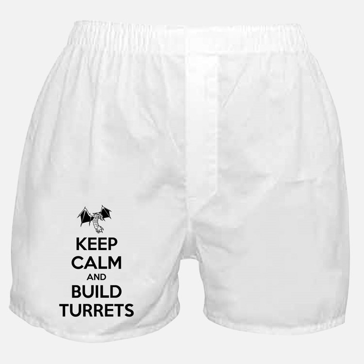 Keep Calm and Build Turrets (light) Boxer Shorts