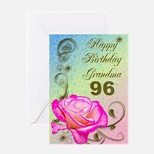 96th birthday card for grandma, Elegant rose Greet