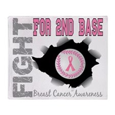 - Fight for 2nd Base Breast Cancer Throw Blanket