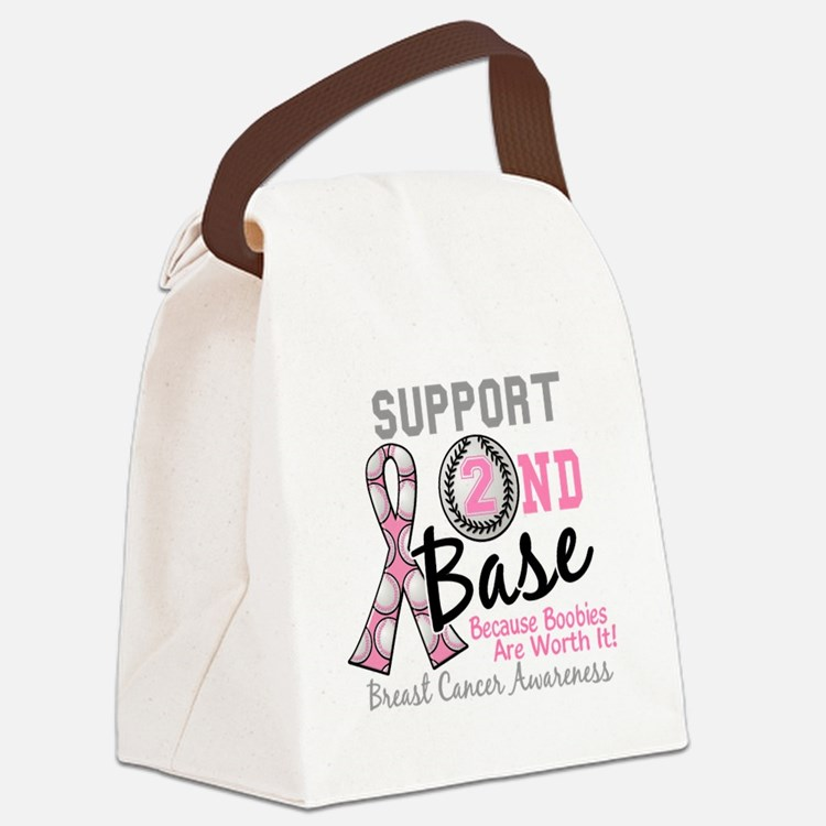 - Support 2nd Base Breast Cancer Canvas Lunch Bag