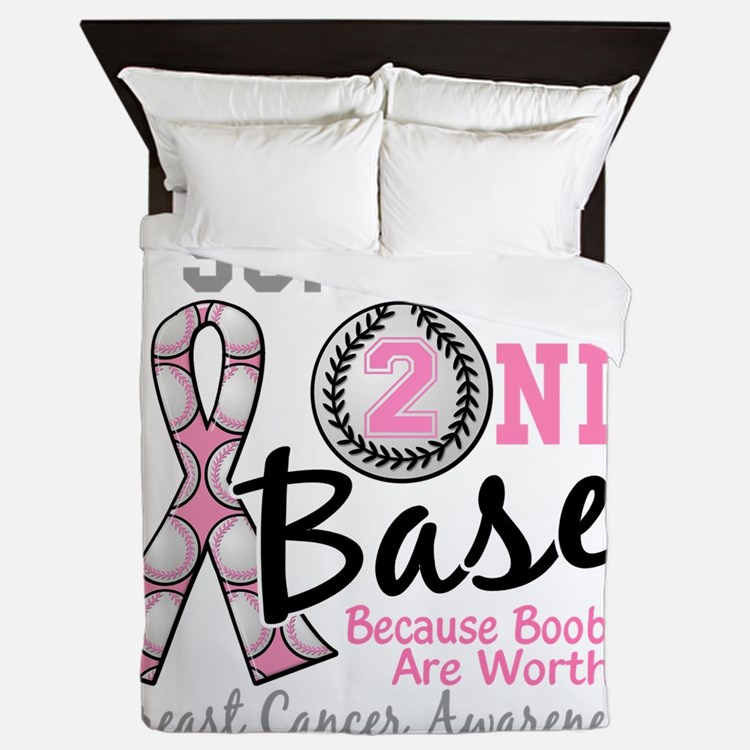 - Support 2nd Base Breast Cancer Queen Duvet