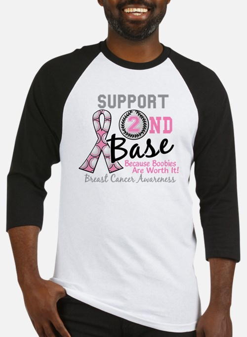- Support 2nd Base Breast Cancer Baseball Jersey