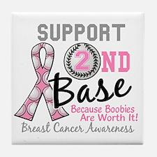 - Support 2nd Base Breast Cancer Tile Coaster