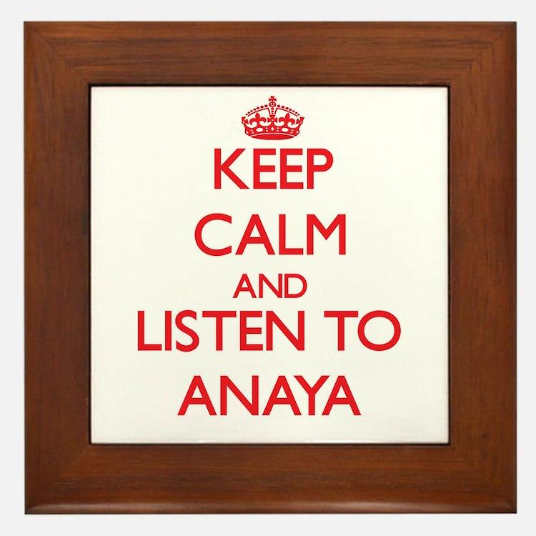 Keep Calm and listen to Anaya Framed Tile