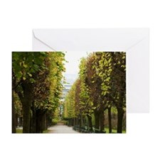 Austria - Bench and tree-lines walkw Greeting Card