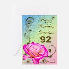 92nd birthday card for grandma, Elegant rose Greet