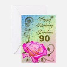 90th birthday card for grandma, Elegant rose Greet