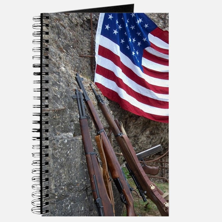 American flag and weapons, 66th Anniversar Journal