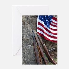 American flag and weapons, 66th Anni Greeting Card