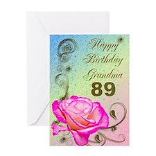 89th birthday card for grandma, Elegant rose Greet