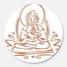 BuddhaOutlineWXXX Round Car Magnet