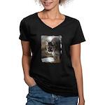 Mountain Lion Women's V-Neck Dark T-Shirt
