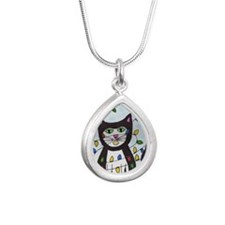 cat in christmas lights Silver Teardrop Necklace