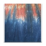 Blue/Orange Tie-Dye Tile Coaster