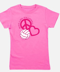 peace love volleyball, melon top, rough Girl's Tee