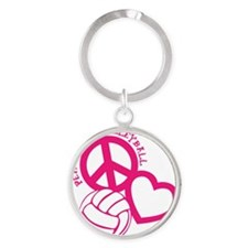 peace love volleyball, melon top, r Round Keychain