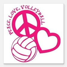 """peace love volleyball, m Square Car Magnet 3"""" x 3"""""""