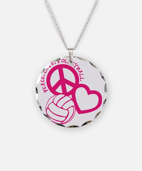 peace love volleyball, melon Necklace