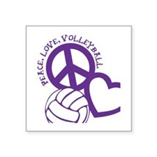 "peace love volleyball, purp Square Sticker 3"" x 3"""