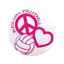 "peace love volleyball, melon top, roug 3.5"" Button"