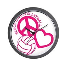 peace love volleyball, melon top, rough Wall Clock