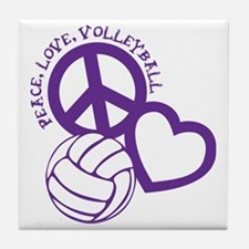 peace love volleyball, purple top, ro Tile Coaster