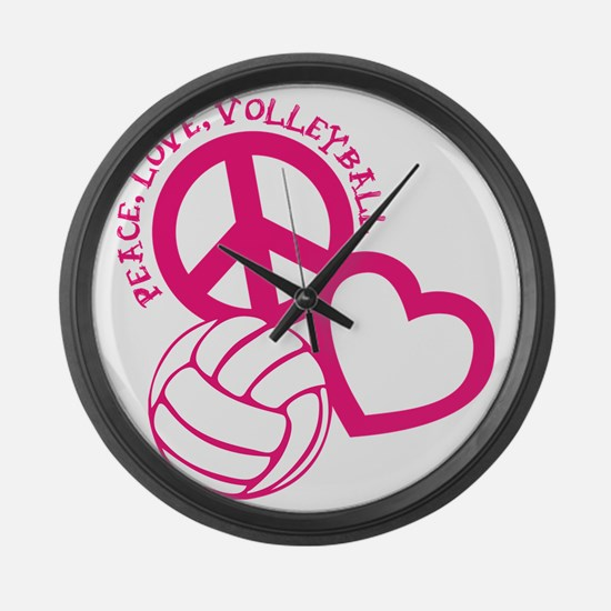 peace love volleyball, melon top, Large Wall Clock