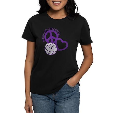 peace love volleyball, purple Women's Dark T-Shirt