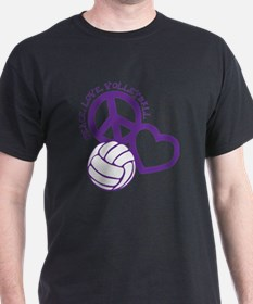 peace love volleyball, purple top, ro T-Shirt