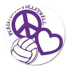 peace love volleyball, purple top Round Car Magnet