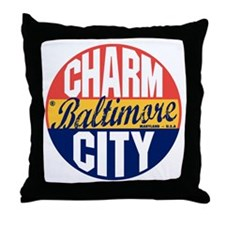 Baltimore Vintage Label B Throw Pillow
